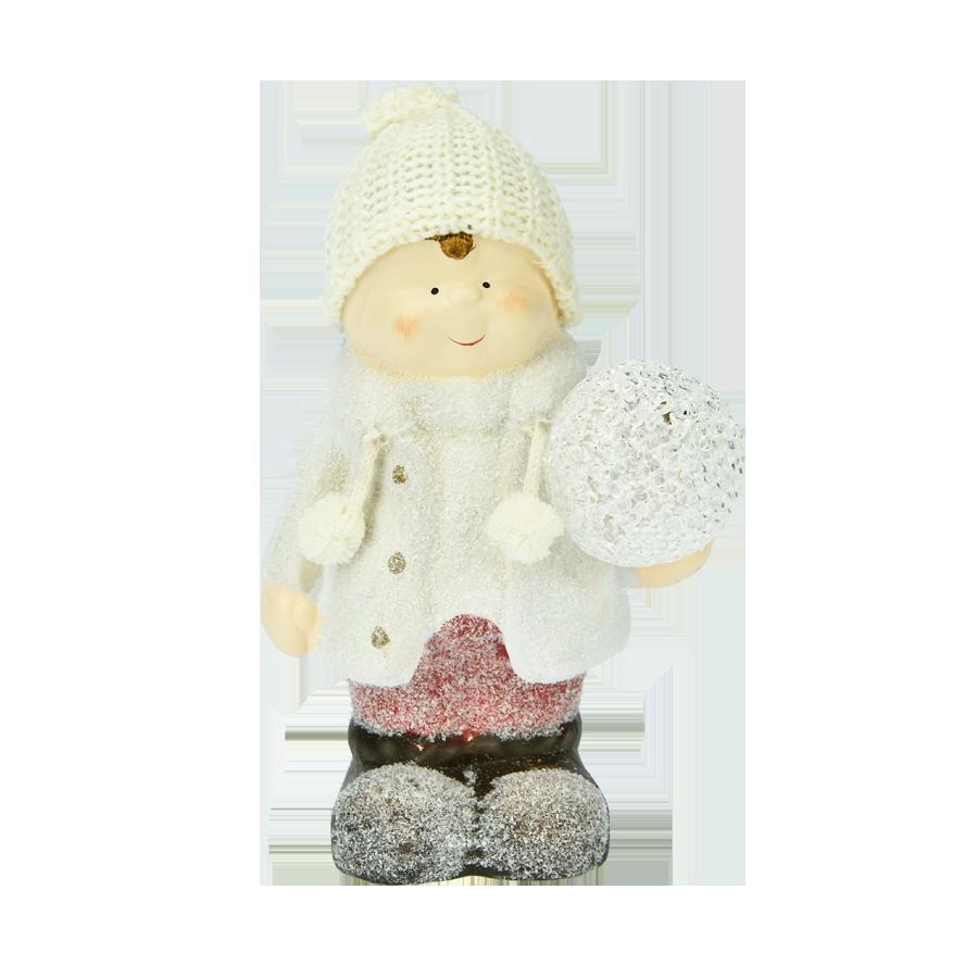 Chłopiec ceramiczny z kulą led 23cm