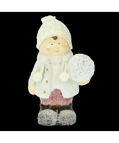 Chłopiec ceramiczny z kulą led 23cm  - 1