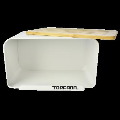 Chlebak z bambusową pokrywą TOPFANN 25cm biały