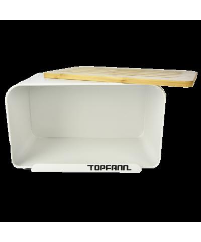 Chlebak z bambusową pokrywą TOPFANN 25cm biały TOPFANN - 2