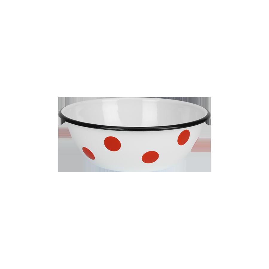 Miska emaliowana czerwone grochy 4l