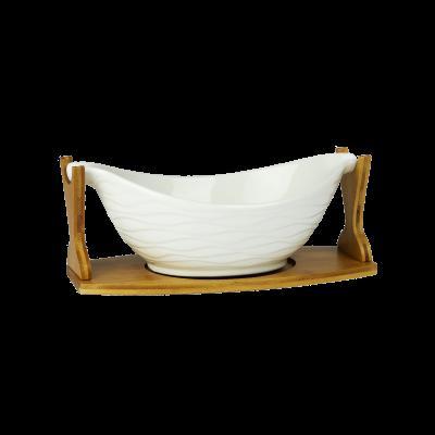 Misa ceramiczna na podstawce bambusowej