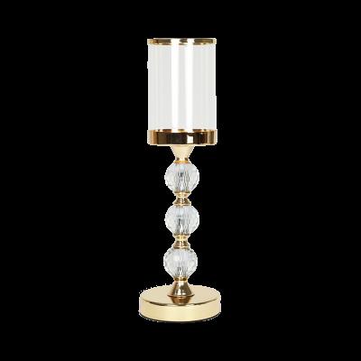 Świecznik szklany na złotej nodze 40,5 cm