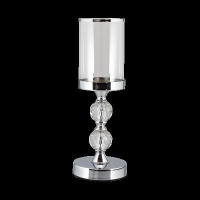 Świecznik szklany na srebrnej nodze 35 cm