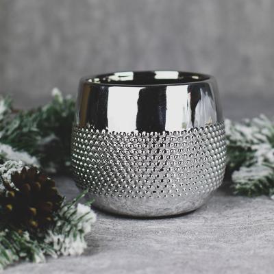 Osłonka ceramiczna 12,5x12,5cm srebrna