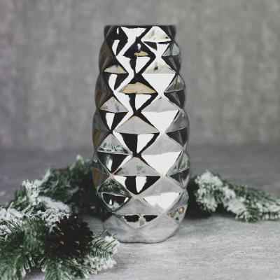 Wazon ceramiczny 9,5x9,5cm srebrny