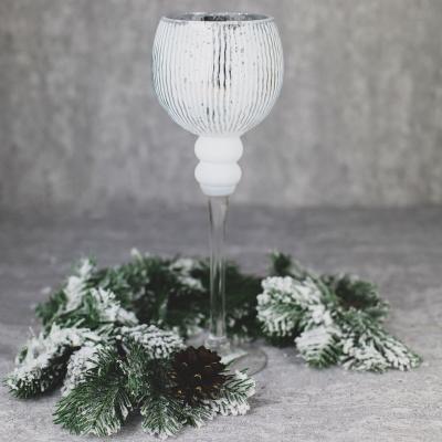 Świecznik szklany kielich 35cm biały
