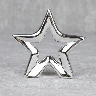 Gwiazda z ceramiki 16cm srebrna