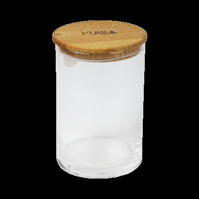 Pojemnik szklany 1200ml z drewnianą pokrywką VUISLA