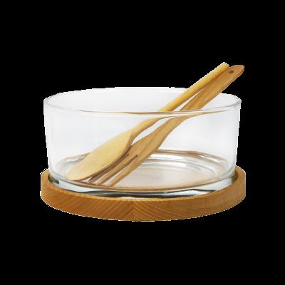 Salaterka z drewnianą podstawką i łyżkami VUISLA