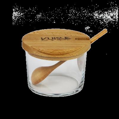Cukiernica szklana z drewnianą pokrywką VUISLA