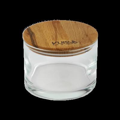 Pojemnik szklany z drewnianą pokrywką VUISLA 700 ml