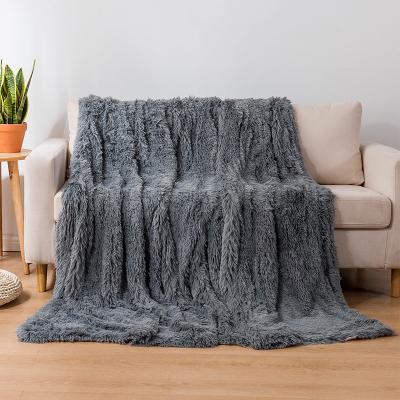 Koc pluszowy COTTON WORLD 160x200 cm ciemny szary