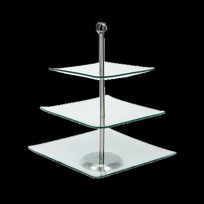 Patera szklana kwadratowa TOPFANN 3-poziomowa