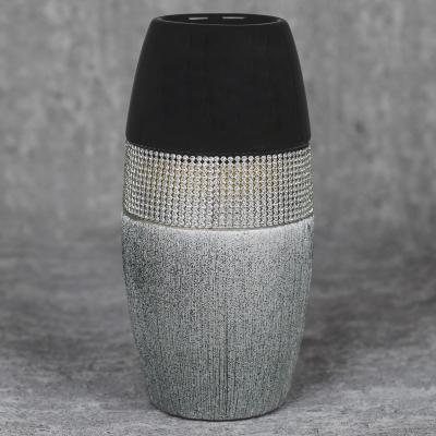 Wazon ceramiczny 23,5 cm srebrno-czarny