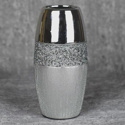 Wazon ceramiczny 23,5 cm srebrny