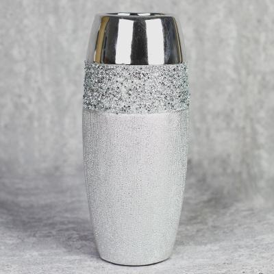 Wazon ceramiczny 28 cm srebrny