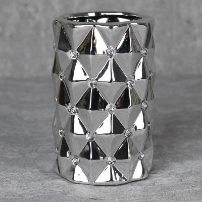 Wazon ceramiczny walec 17 cm srebrny
