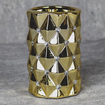 Wazon ceramiczny walec 17 cm złoty