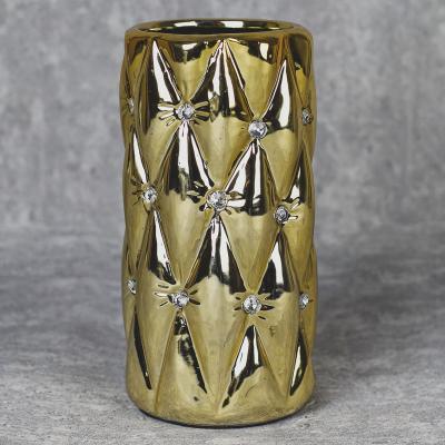 Wazon ceramiczny walec 22,5 cm złoty
