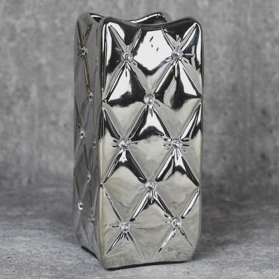 Wazon ceramiczny kwadratowy 25 cm srebrny