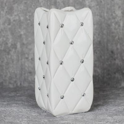 Wazon ceramiczny kwadratowy 27 cm biały