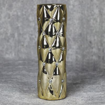Wazon ceramiczny walec 27,5 cm złoty