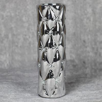Wazon ceramiczny walec 27,5 cm srebrny