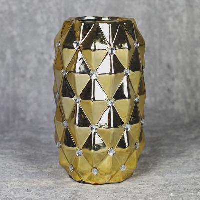 Wazon ceramiczny 23 cm złoty