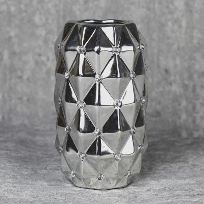 Wazon ceramiczny 23 cm srebrny