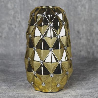 Wazon ceramiczny stożek 22,5 cm złoty