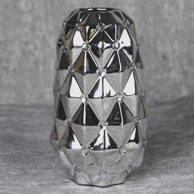 Wazon ceramiczny stożek 22,5 cm srebrny