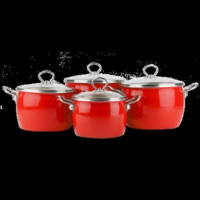 Komplet garnków emaliowanych ORGUS czerwony 8-częściowy