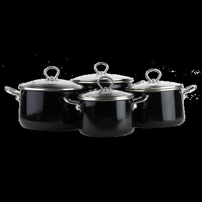 Komplet garnków emaliowanych OLTIS czarny 8-częściowy