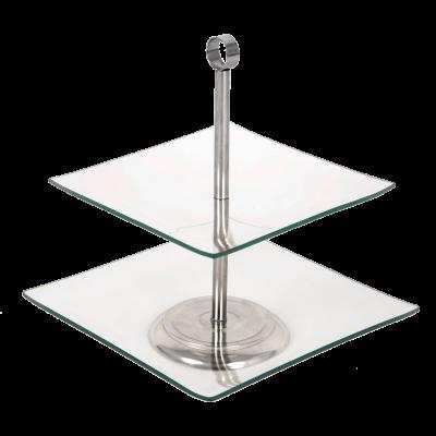 Patera szklana kwadratowa TOPFANN 2-poziomowa