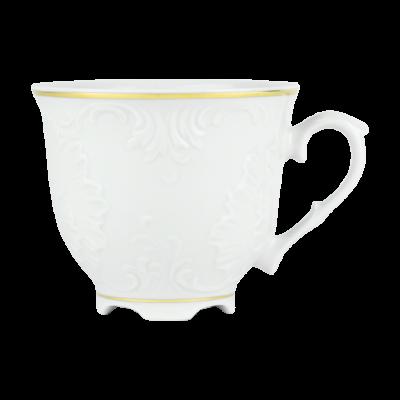 Filiżanka porcelanowa ĆMIELÓW Rococo złoty pasek 330 ml