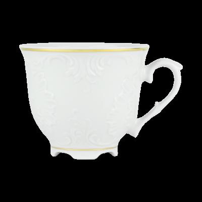 Filiżanka porcelanowa ĆMIELÓW Rococo złoty pasek 250 ml