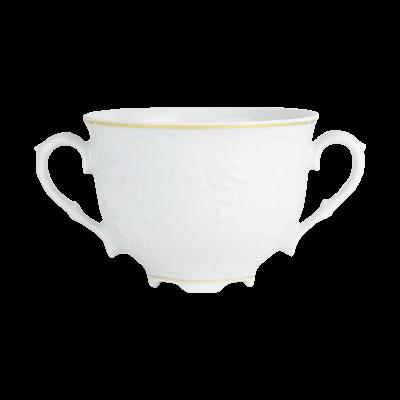 Bulionówka porcelanowa ĆMIELÓW Rococo złoty pasek 330 ml