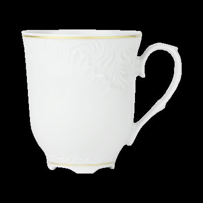 Kubek porcelanowy ĆMIELÓW Rococo złoty pasek 300 ml