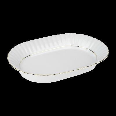 Salaterka porcelanowa owalna CHODZIEŻ Iwona złoty pasek 24 cm
