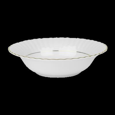Salaterka porcelanowa okrągła CHODZIEŻ Iwona złoty pasek 23 cm