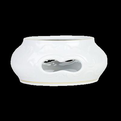 Podgrzewacz porcelanowy ĆMIELÓW Rococo złoty pasek 16 cm