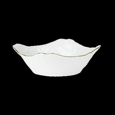 Salaterka porcelanowa kwadratowa ĆMIELÓW Rococo złoty pasek 14 cm