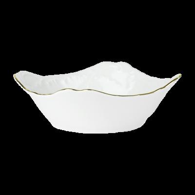 Salaterka porcelanowa kwadratowa ĆMIELÓW Rococo złoty pasek 17 cm