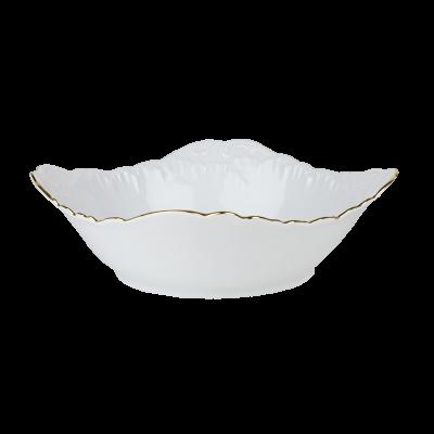 Salaterka porcelanowa kwadratowa ĆMIELÓW Rococo złoty pasek 24 cm