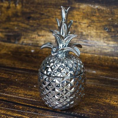 Ananas ceramiczny szkatułka 19,5 cm srebrny