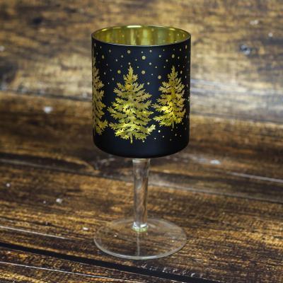 Świecznik szklany kielich 20 cm czarno-złoty