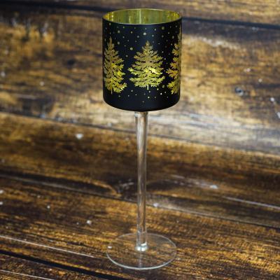 Świecznik szklany kielich 30 cm czarno-złoty