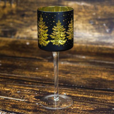 Świecznik szklany kielich 25 cm czarno-złoty