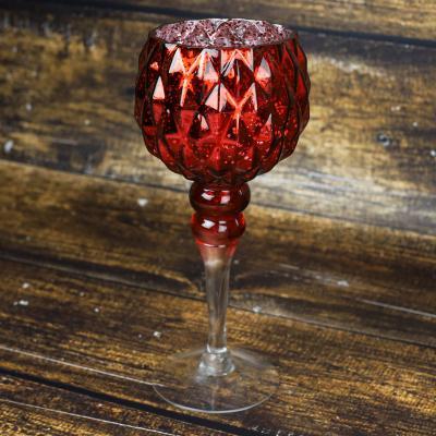 Świecznik szklany kielich 30 cm czerwony